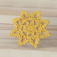 4Pcs/Lot Yellow Hand Crochet Lace Snowflake Cotton Doilies Table Mats Doily 6""
