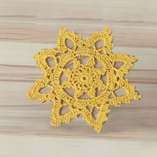 4Pcs/Lot Yellow Vintage Hand Crochet Lace Doilies 6inch Snowflake Pattern