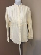 "Lauren Ralph Lauren Monogram Linen ""PEARL"" Blouse Button Front Ladies Small NWT"
