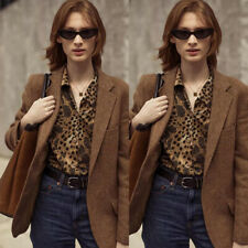 Brown Women's Herringbone Blazers Tweed Wool Coat Work Wear Office Plus Size New