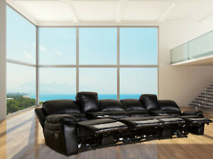 4 Seater Electric Recliner Leather Air Home Theater Lounge Cinema Sofa USB Couch
