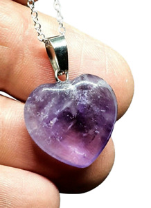 "Amethyst Heart Pendant Crystal Gemstone Spiritual 18"" Chain Necklace Boxed Uk"