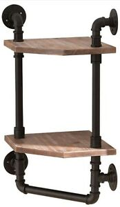 Industrial Rustic Corner Pipe Shelf