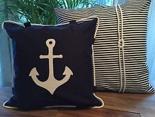 1Kissenhülle*Kissenbezug*Landhausstil*Maritim Kordel*Anker* Navy Blau/weiß 40x40