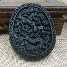 2pcs Natural Chinese Black Green Dark Jade Pendant Dragon Carved Lucky Amulets