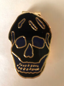 NEW AUTHENTIC Alexander McQueen TWO-TONE BLACK/BLUE ENAMEL SKULL MONEY CLIP
