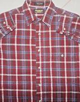 VTG OSHKOSH B'GOSH PLAID FLANNEL L/S SHIRT Burgundy MED Cotton USA Button Pocket