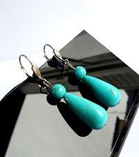 Boucles d'Oreilles en Pierre Naturelle Lithothérapie Turquoise Bijoux Femme