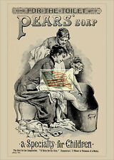 REPRINT PICTURE of old PEARS' SOAP ad 1887 2 WOMEN PUTTING BABY INTO BATHTUB 5x7