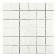 Shapes White Large Square Gloss Mosaic Wall & Floor Tiles 4.8 x 4.8