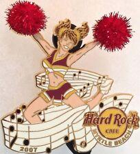Hard Rock Cafe MYRTLE BEACH 2007 CHEERLEADER PIN Sexy Girl FUZZY Pom-Poms #36481