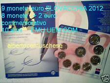 2012 9 monete euro SLOVACCHIA Slovaquie Slovakia Slovenska 10 anni EMU UEM COM
