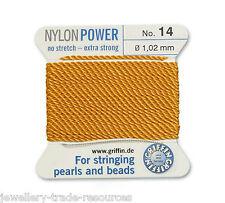 Ámbar amarillo Nylon Potencia sedoso Hilo 1,02 mm Encordar Perlas Y Cuentas Griffin 14