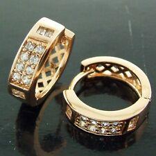 EARRINGS HOOP GENUINE REAL 18K ROSE G/F GOLD DIAMOND SIMULATED ANTIQUE DESIGN