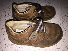 Baby Boys Clarks FIRST SHOES Brown Leather Velcro Shoes Sz 5.5 E
