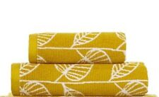 Set 1 Hand & 1 Bath Towel 100% Cotton Mustard Yellow Leaf Retro Pattern Nature