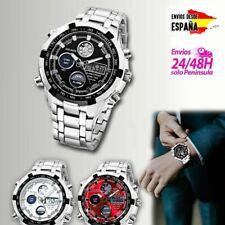 Reloj De Pulsera Hombre Luz LED Digital Fecha Para Hombres Acero Analogico Crono