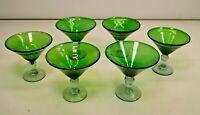 Set of 6 Emerald Green - Clear Stem - Glass Blown Martini Glasses