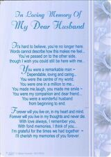 Memorial Grave Card IN LOVING MEMORY OF MY DEAR HUSBAND Sentimental Poem Message