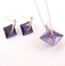 White Gold Plated Simple Purple Square CZ Cubic Xmas Stud Earrings Necklace Set