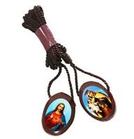 Small Oval Wood Catholic Scapular,Medal of Jesus/Our Lady of Mt. Carmel, 6 Set