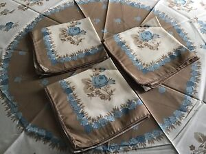 "Circular Round Vintage Tablecloth 61""/155cm + 8 Napkins/Serviettes Floral NEW"