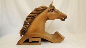 "MID CENTURY ORIGINAL HAND CARVED WOOD HORSE STALLION SCULPTURE STATUE BUST 15"""