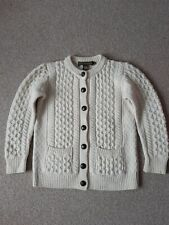 Inis Crafts Woman Cream Cable Knit Merino Wool Cardigan Size S Ireland
