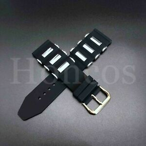 20 - 26 MM Soft Rubber Black Diver Watch Band Strap Silver Bullet Replacement