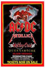 Heavy Metal: Monsters of Rock: Ac/Dc, Motley Crue & Queensryche Poster 1991
