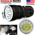 30000LM 12x CREE XM-L T6 LED Flashlight Torch 4x 18650 Hunting Searchlight Lamp