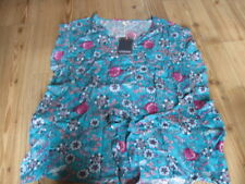BLOUSE SIZE 14 NEW & TAG CHEROKEE VISCOSE BLUE WITH FLORAL PATTERN BELT