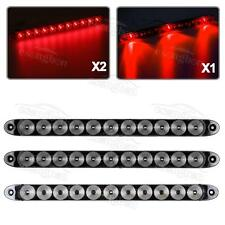 """(2x11 LED+1x3LED) 15"""" Clear/Red Stop/Turn/Tail Brake ID Light bars Truck Trailer"""