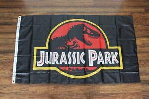 Jurassic Park Banner Flag 3x5 Movie Film Dinosaur Logo Man Cave Ships from USA