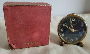 Vintage Tavannes Cyma Art Deco Style 7 Jewels Alarm Clock + Box & Instructions