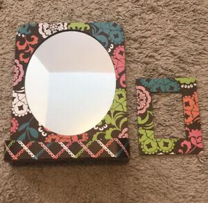 Vera Bradley Lola locker mirror Organizer Shelf Magnetic Picture Frame Brown