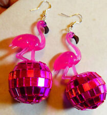 BIG PINK FLAMINGO & 70s and 80s  EARRINGS Glass Pink DISCO BALL LUAU PARTY USA