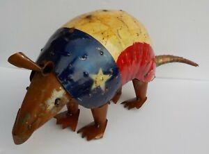 "METAL ART ARMADILLO SCULPTURE 22"" LONG YARD ART ANIMAL FIGURE TEXAS FLAG"
