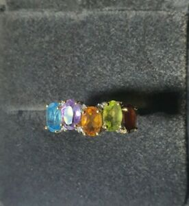 9k Yellow Gold Colorful Gem Stones Ring Size O