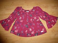 Women's Odd Molly 274 Red Floral Long Sleeve Square Neck Cotton Top Size 3 L 16