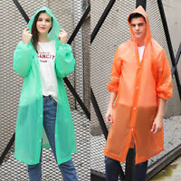 US NEW Men Women Waterproof Jacket PE Hooded Raincoat Rain Coat Poncho Rainwear