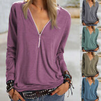 Womens Zip V Neck Baggy T Shirt Ladies Long Sleeve Blouse Casual Work Tunic Tops