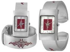Neu Tribal Spangenuhr graviert Spange Armreif Armband Designer Uhr Damenuhr 1a