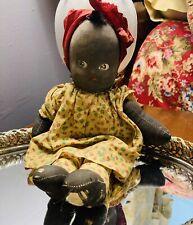 Antique Plush Vintage Black Baby Doll Ragdoll