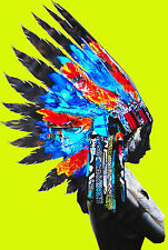 Framed Print North American Indian street pop art feathers Head Canvas yellow