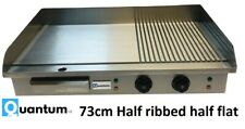 More details for quantum ce® 73cm electric table top griddle half ribbed double 2 x 2.2kw  grf73
