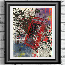 ORIGINAL ART Print on DICTIONARY ANTIQUE BOOK PAGE British UK Phonebox artwork
