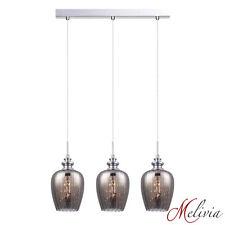 Lampe suspendue Luminaire 3x40w 58cm verre gris étamé Plafonnier Cristal