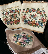 Vintage Needlepoint 3 Pieces Floral Heart Pillow Unfinished Craft