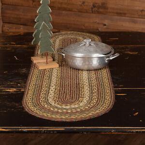 "VHC Brands Rustic 13""x48"" Table Runner Green Tea Cabin Jute Kitchen Table Decor"
